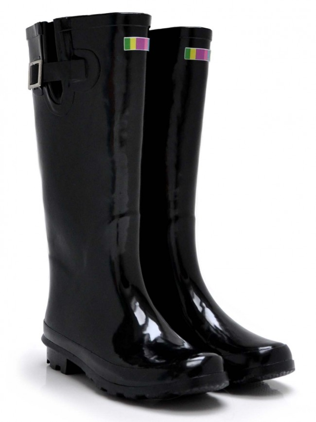 Black Gloss Wellies by Welly Warehouse