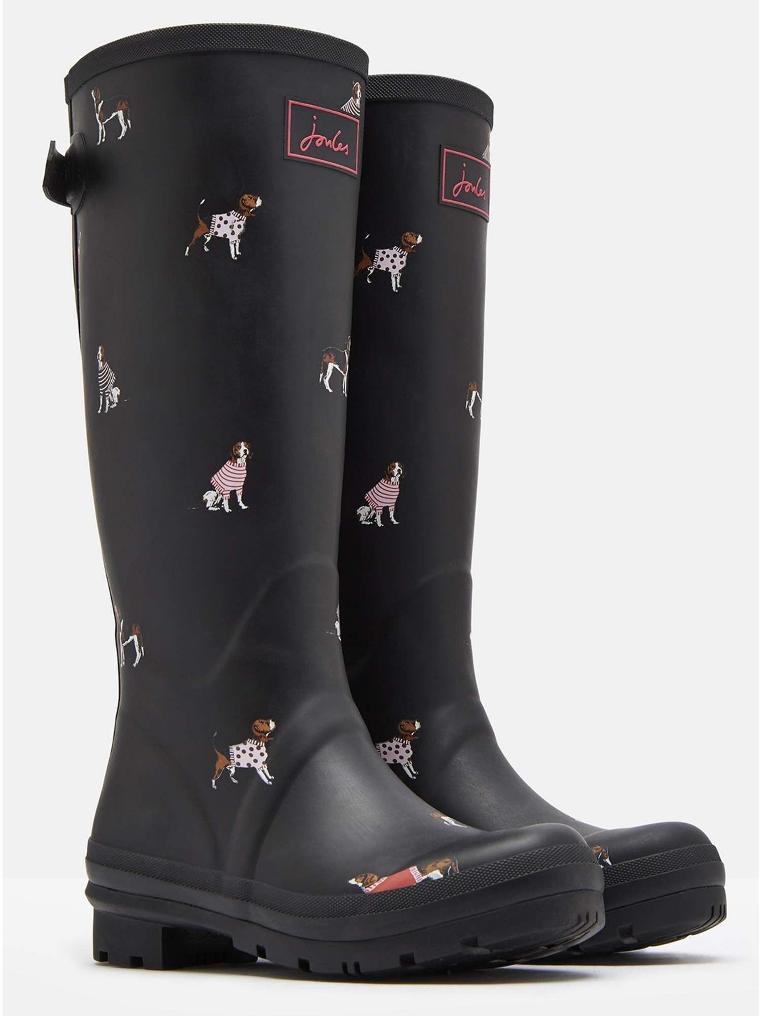 Joules Printed Wellies Black Jumper Dogs Printed Wellies