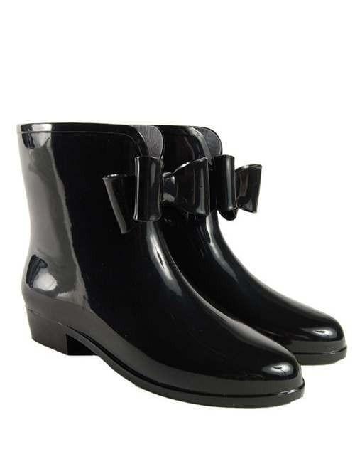 Splash Pvc Chelsea Boot Black Bow