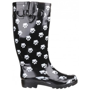 Paw Print Wellies Black & White