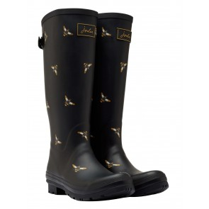 Joules Black Metallic Bees Wellies