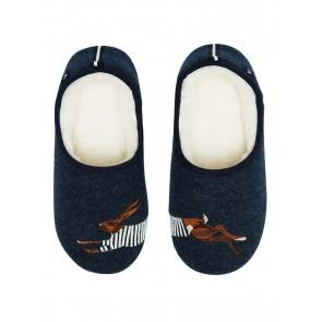 Joules Slip on Felt Slippers Navy Hare