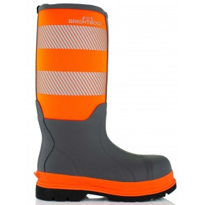Brightboot Waterproof High Leg Safety Boot Orange/Grey