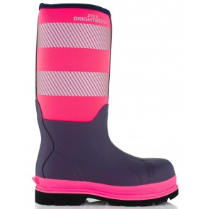 Brightboot Waterproof High Leg Safety Boot Pink/Navy