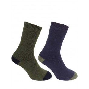 Short Welly Sock (Twin Pack) Green/Navy