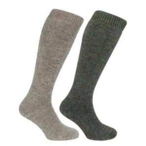 Long Welly Sock (Twin Pack) Light Brown/Green