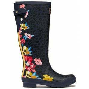 Joules Welly Navy Floral Leopard