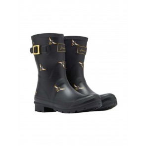 Joules Molly Welly Black Metallic Bees