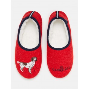 Joules Slip on Felt Slippers Red Walkies