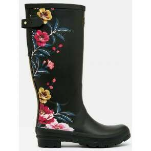 Joules Printed Welly Black Border Floral