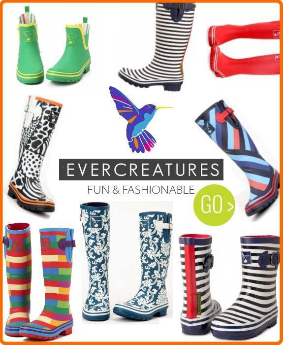 Evercreatures funky printed wellies