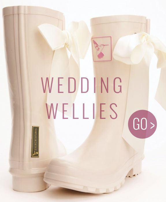 Ribbon wedding wellies for the Bride