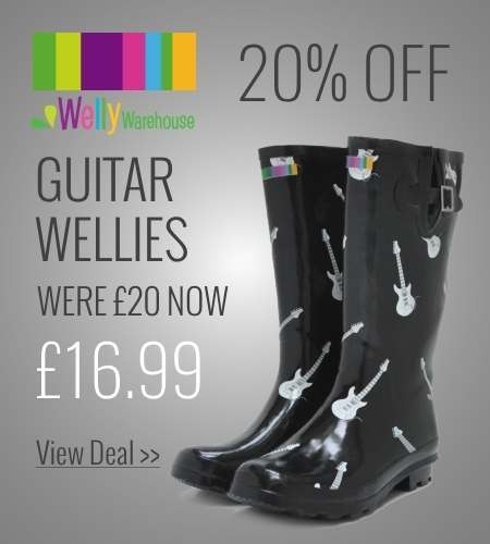 Save 25% on guitar print wellies