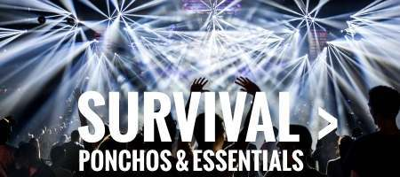 Festival ponchos and survival kits